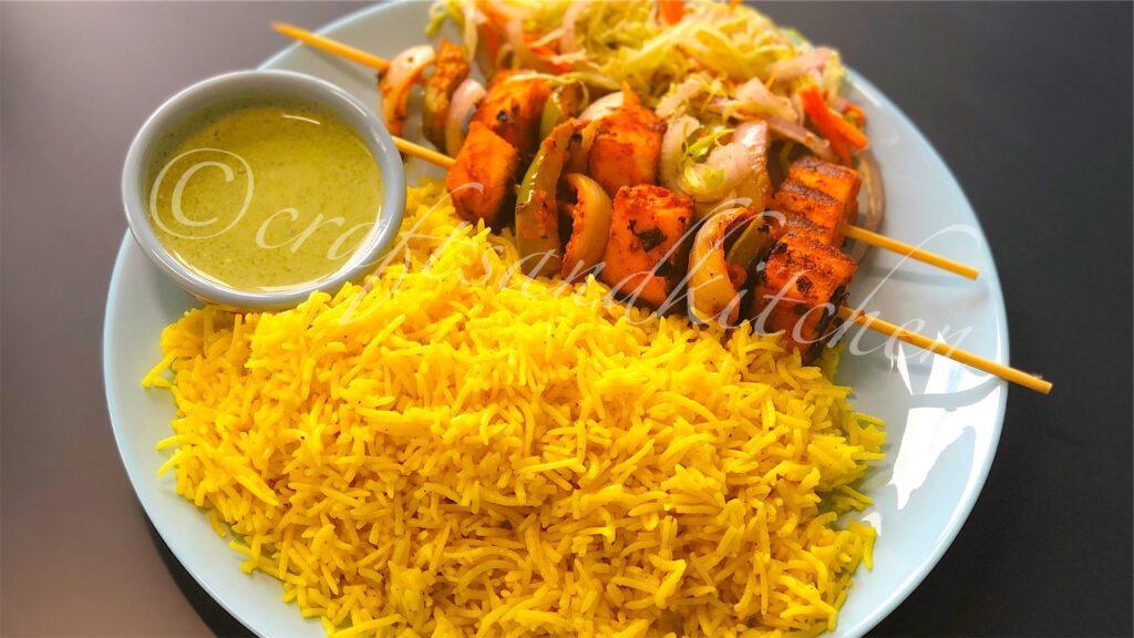 Yellow Rice with paneer tikka